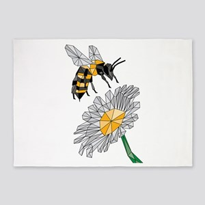 Geometric Bee & Flower 5'x7'Area Rug